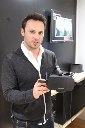 CEO Brendan Iribe shows a prototype of the first consumer Rift hardware in 2015.