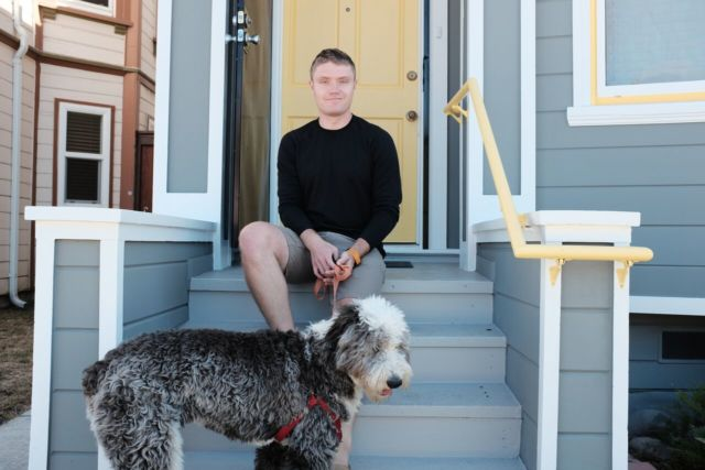 Eliot Peper at his home in Oakland, California.