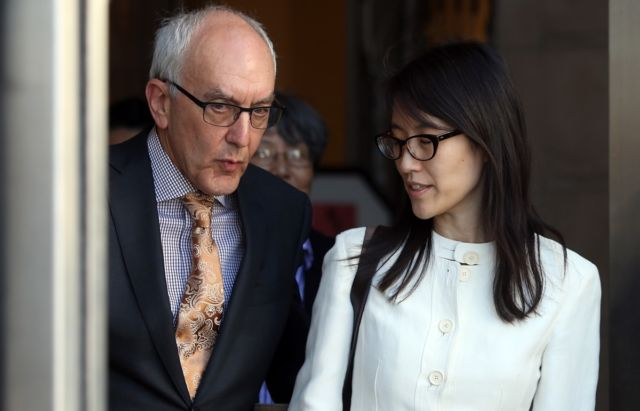 Former Reddit CEO Ellen Pao leaving the San Francisco Superior Court Civic Center Courthouse with her attorney on March 27, 2015, after losing her sexual harassment lawsuit against venture capital firm Kleiner Perkins Caulfield and Byers.