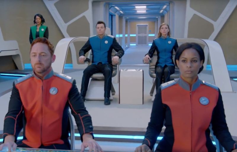 The crew of the USS Orville stands ready for a new season of adventures in season 2 of <em>The Orville</em>.&#8221;><figcaption class=