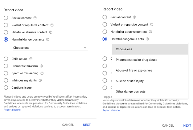 Users can report dangerous content directly beneath the videos.