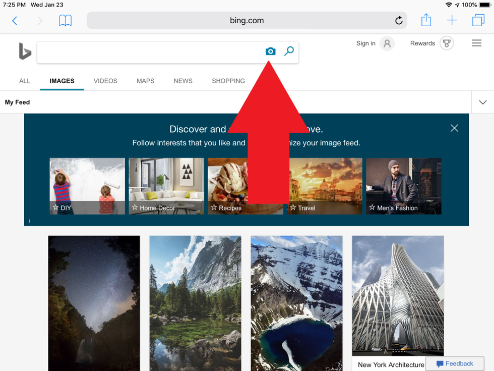 Bing Image Search on Mobile