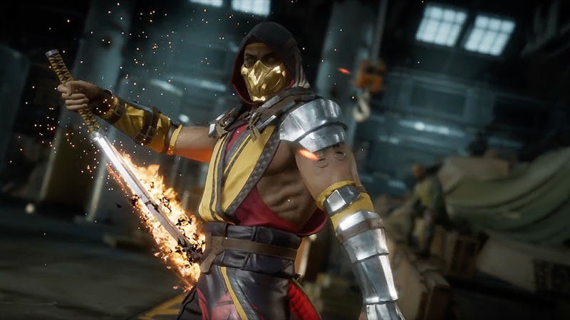 Scorpion has come a long way in <em>Mortal Kombat 11</em>, but he&#8217;s still a golden ninja with flaming powers, so it works for me.&#8221;><figcaption class=