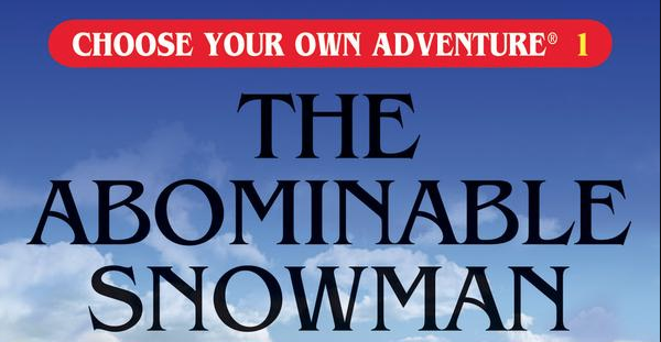 A portion of the book cover for <em>The Abominable Snowman</em> by R.A. Montgomery.&#8221;><figcaption class=