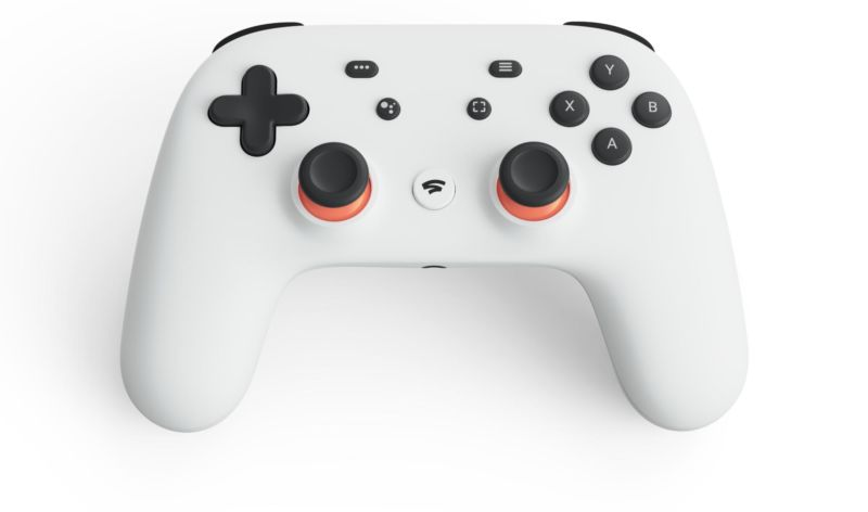 The Google Stadia controller, which includes a few custom buttons. The service will also support wired USB controllers and mouse-and-keyboard controls.