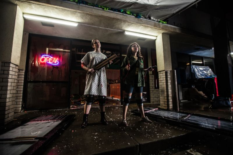 """Sara (Mary Nepi) and Hayley (Gabrielle Elyse) team up to save their Arizona town from an alien invasion in <em>Snatchers.</em>""""><figcaption class="""