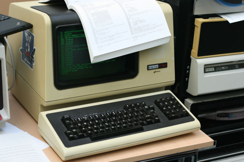 A VT100 remote terminal, which is basically the same thing as Windows Remote Desktop.