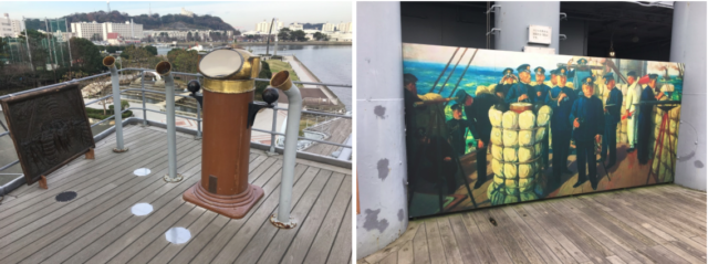 The bridge of the Japanese pre-dreadnought battleship Mikasa, the flagship of the Japanese fleet at the Battle of Tsushima in 1906. Right side is a painting of the Japanese commander during the battle. Contrast this with the picture below.