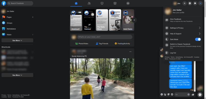 The new design does at least include a dark mode. I generally prefer bright layouts, but if you have a bad habit of Facebooking in bed late at night, this is less likely to prevent sleepiness.