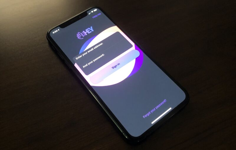 The login screen for Hey on an iPhone XS.