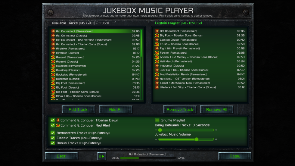 Customize the in-game audio at any time with this handy jukebox interface.