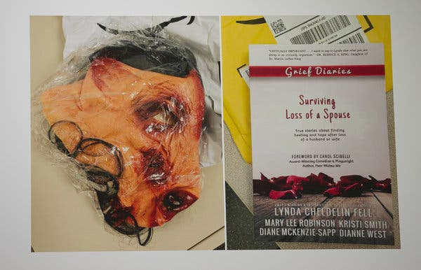 """A placard displaying photographs of some of the evidence in the eBay case: a bloody-pig mask and a book, """"Surviving Loss of a Spouse."""""""