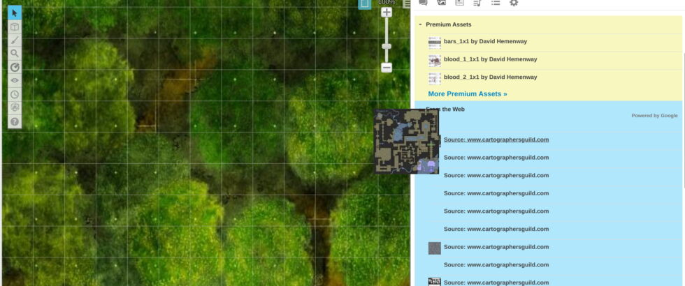 While the premium options will almost always be a better fit, Roll20 makes finding free maps and tokens easy enough.