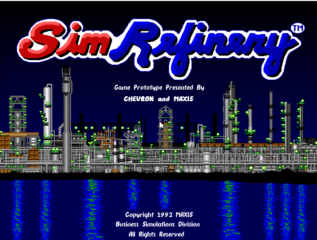 """Wow. It may only be an incomplete prototype, but in a breathtaking span of time, <em>SimRefinery</em> has gone from a seemingly lost legend to a playable, downloadable video game. (That's its real, full-resolution opening screen, as captured using a DOSBox emulator.) And it's all thanks to an Ars Technica commenter.""""><figcaption class="""