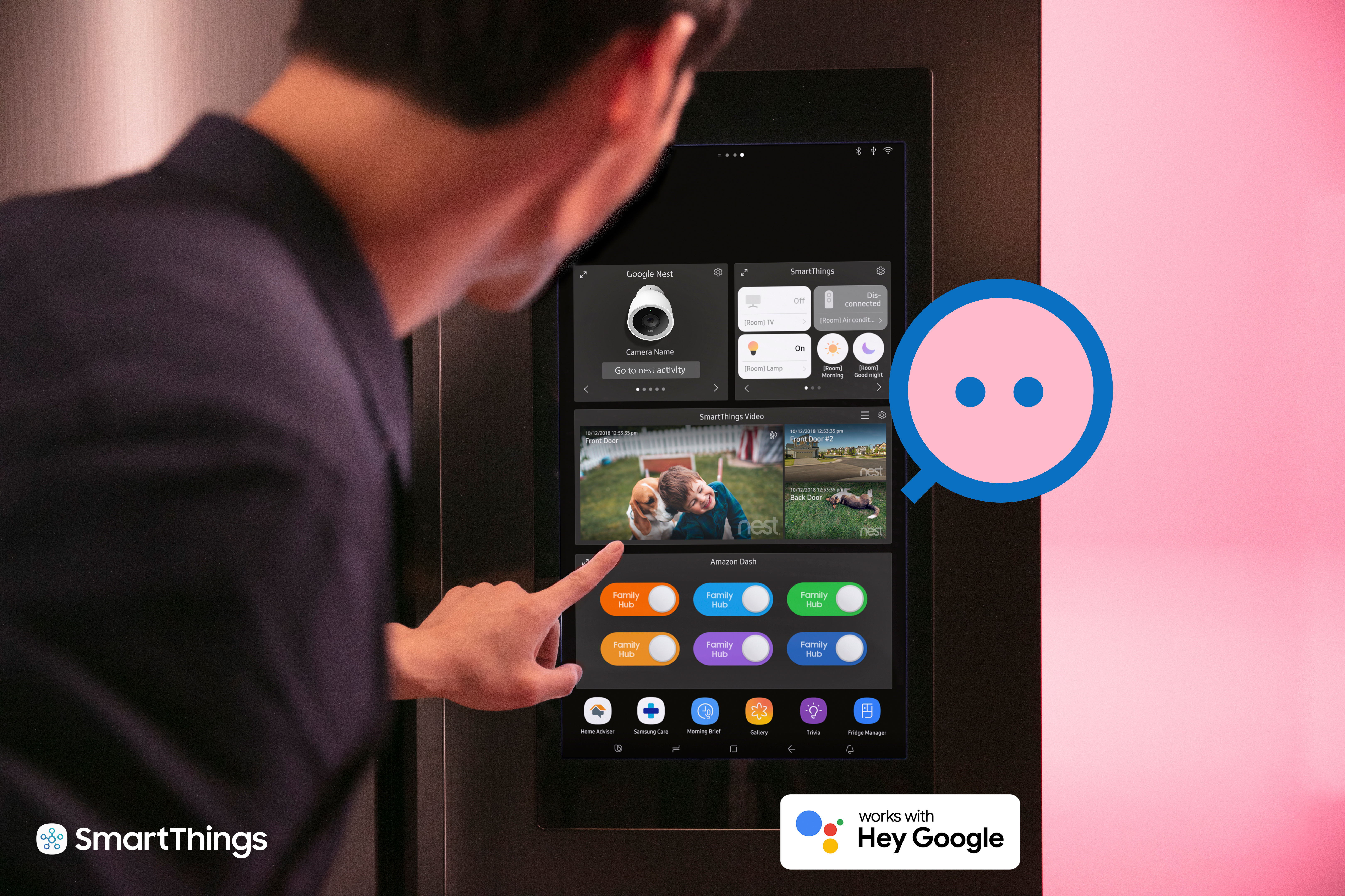 Samsung imagines you'll control your Nest thermostat from your Samsung refrigerator. I don't know about that, but having everything in a single app would be handy.
