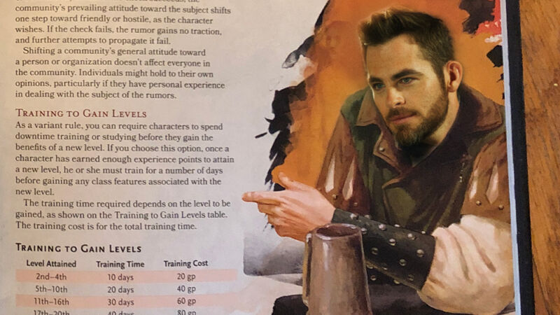 The face of actor Chris Pine has been photoshopped onto a Dungeons and Dragons information card.