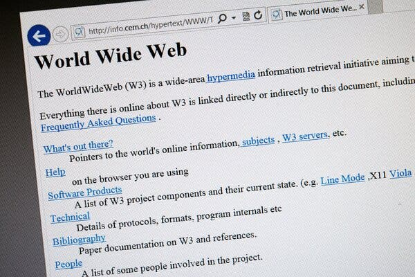 The world's first web page as it appeared in 1992, a year after it was created. Mr. Berners-Lee is trying to pull theonline world back toward its egalitarianroots.