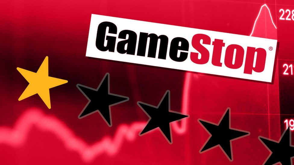 Gamestop logo and one star review set over a share price ticker