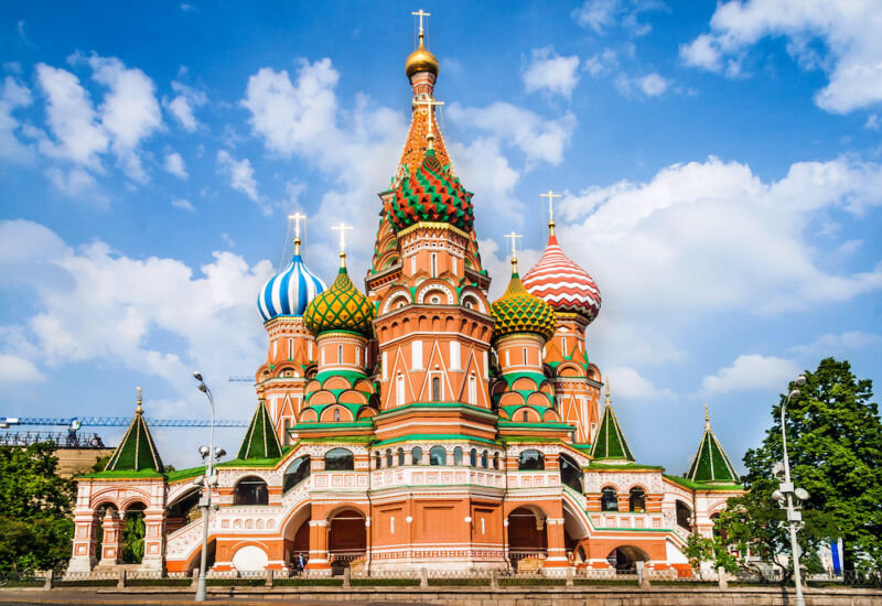 An Orthodox cathedral, complete with onion domes, looks magnificent on a sunny day.