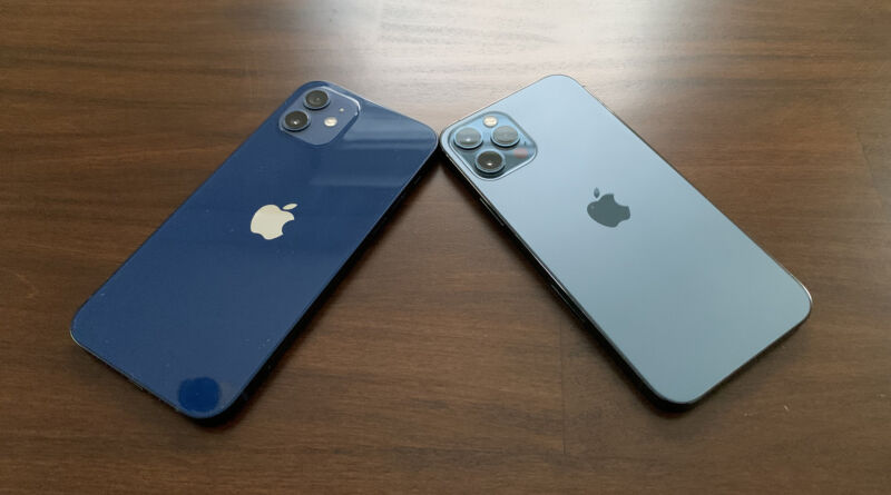 The iPhone 12 and 12 Pro, side-by-side