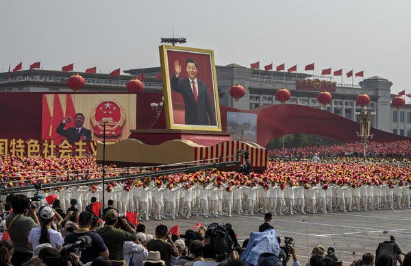 A float with a giant portrait of China's leader, Xi Jinping, during celebrations of the 70th anniversary of the founding of the People's Republic, in Beijing in October 2019.