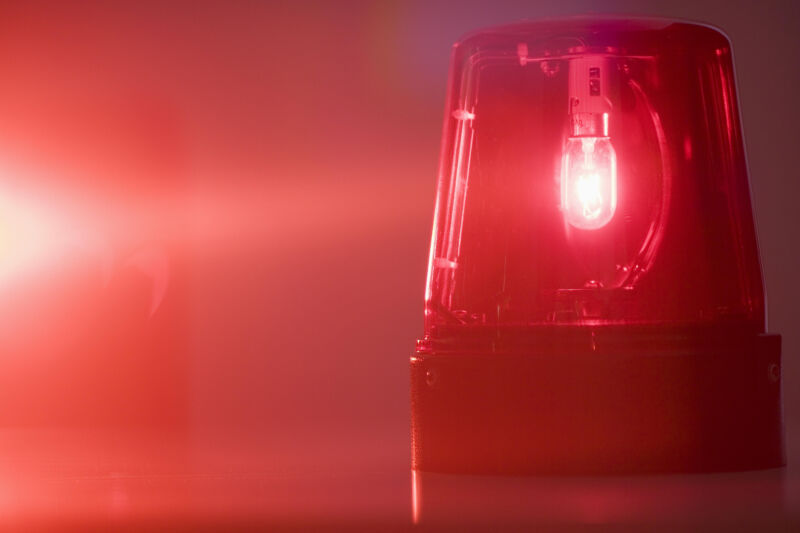 Stock photo of a glowing red emergency light
