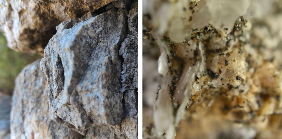 On the left is a shot of a rock; on the right is a micro-camera close-up of that same rock.