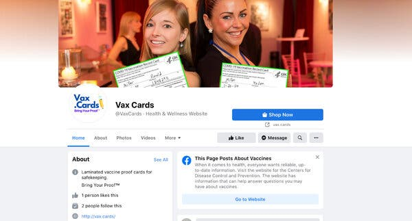 """A screenshot of a """"vax cards"""" page on Facebook."""